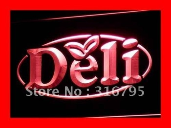 i077-r OPEN Deli Cafe Restaurant Logos LED Neon Light Signs