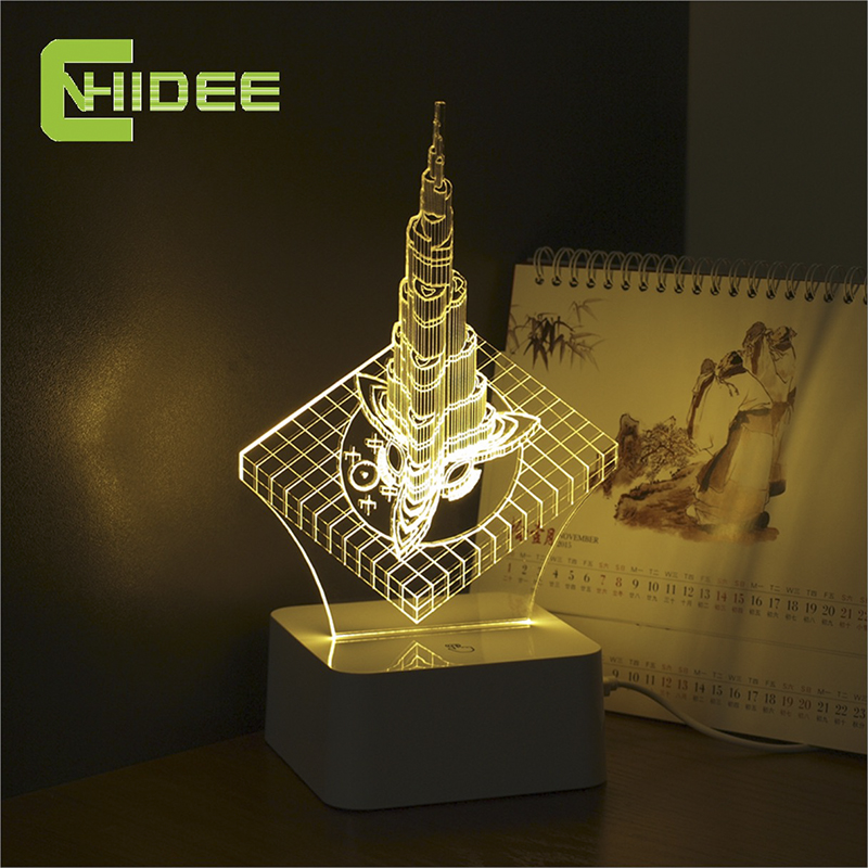 CHDIEE Design Dubai Famous Tower 3D Led Dimmable Touch Lamp Creative Desk Night Lights Led Usb Lamp as Novelty Christmas Gifts<br><br>Aliexpress