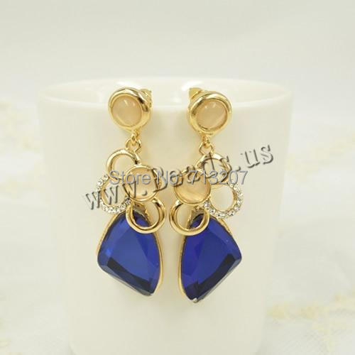 Free shipping!!!Zinc Alloy Drop Earring,Christmas Gift, , with Cats Eye &amp; Crystal, stainless steel post pin, gold color plated<br><br>Aliexpress