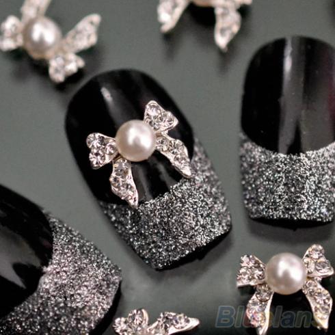Гаджет  10pcs Fashion Nail Art Tips Stickers Deco Pearl Ribbon Bow Alloy Jewelry Glitter Rhinestone decoration 15SF None Красота и здоровье
