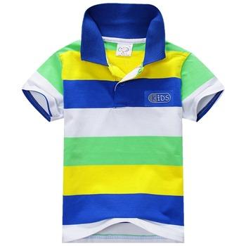 Новый Летний 1-7Y Детские Дети Мальчики Полосатый Футболки Топы Спорт Tee Polo Рубашки Одежда