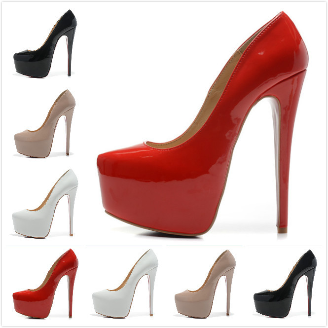 Hot sale 16cm genuine leather pumps red/black/nude/white bridal wedding shoes 2014 brand women platform high heels shoes(China (Mainland))