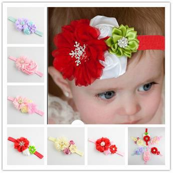 New Hot Sale Rose Floral Hairband with Diamond Baby Girls Flower Style Headband Cute Chiffon Combined Hairwrap Hair Accessory(China (Mainland))