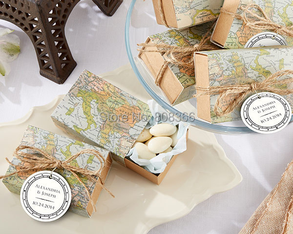"(100Pcs/lot) ""Around the World"" Map Favor Box for traveling theme wedding decoration gift box and Kraft box Party candy box(China (Mainland))"