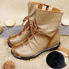 2019 Vintage Da Phong Cách Giày Bốt Nữ Phẳng Boot Da Bò Mềm Mại Nữ Khóa Kéo Mặt Trước Mắt Cá Chân Giày Zapatos Mujer(China)
