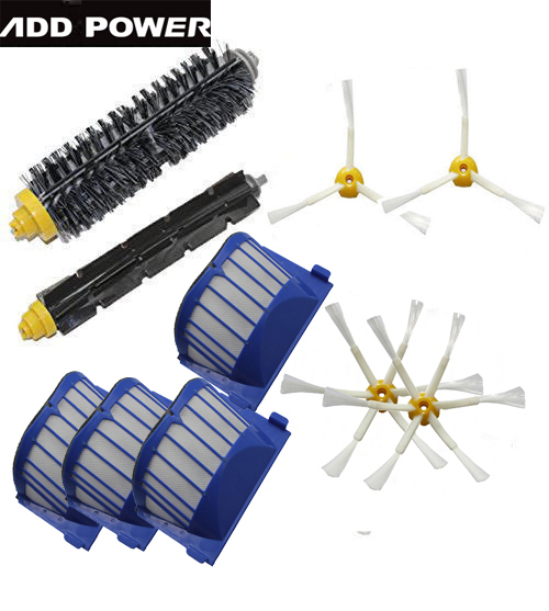 New Bristle & Flexible Beater &4pcs Armed Brush & 4 Aero Vac Filterfor iRobot Roomba 600 Series 620 630 650 660(China (Mainland))