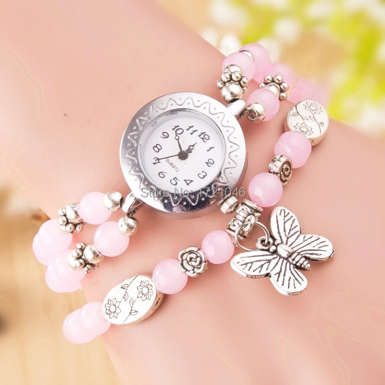 Summer New Fashion Quality watches Semi precious Rally wire bracelet watch Natural Stone Butterfly Pendant Wristwatche