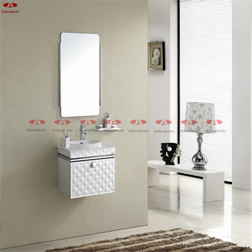 Modern mirrored stainless steel bathroom vanity top cabinet with handle in bathroom vanities Stainless steel bathroom vanities