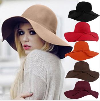 2015 Fashion Style Soft Women Vintage Retro Wide Brim Wool Felt Bowler Fedora Hat Floppy Cloche Big Brim Chapeu Hat for Women(China (Mainland))
