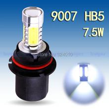 2pcs 9007 HB5 High Power 7.5W 5 LED Pure White Head Tail Fog Driving Car Light Bulb Lamp led light led auto(China (Mainland))