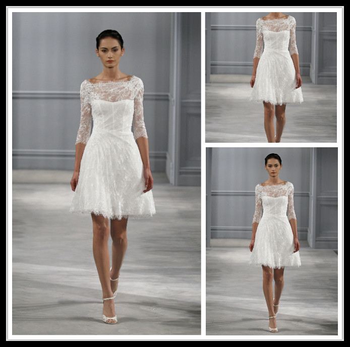 Romantic Wedding Dress Short With Long Sleeve Knee Length