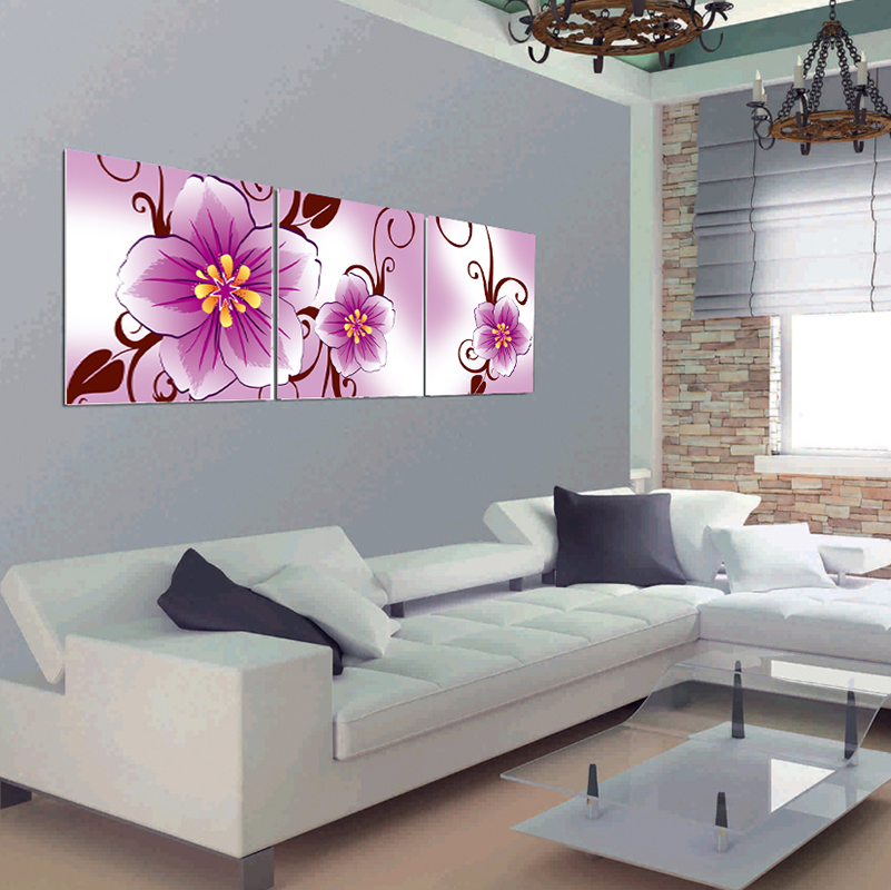 3 Pcs (No Frame) Large Flowers Wall Art Picture Modern Home Decor ...
