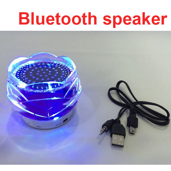 Colorful Transparent Crystal Bluetooth Speaker Lotus TF Cards Outdoor Portable Mini Loudspeaker With Mic Handsfree Free Shipping(China (Mainland))