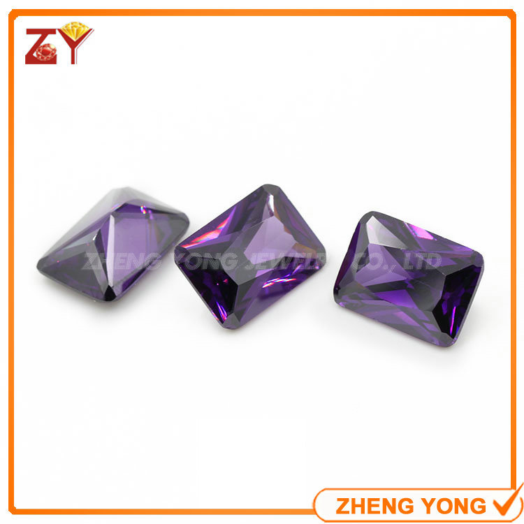 Beautiful Amethyst Cubic Zircon Stones 10*12mm Rectangle Shape Loose CZ Beads<br><br>Aliexpress
