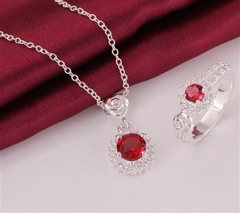 Hot, wholesale and retail 925 silver jewelry, fashion jewelry inlaid stone beautifully modern fireworks necklace & ring -2 sets(China (Mainland))