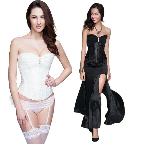 Sexy Lingerie Women's Corset Hot Lady Bridal Satin Corset Black/White C8486(China (Mainland))
