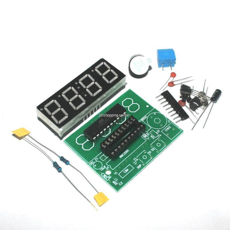 Free shipping High Quality C51 4 Bits Electronic Clock Electronic Production Suite DIY Kits c51 electronic clock(China (Mainland))