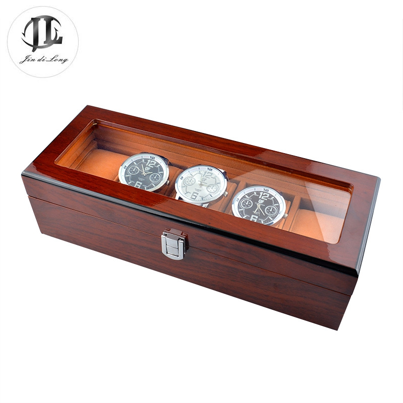 Vintage Logo Customized Brown Rectangle Five Grids MDF Oil Painting Soft Pillow Watch Gift Display Box(China (Mainland))