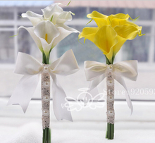 Hi-Q 6pcs Vivid real touch pu artificial hands holding Calla Lily wedding flower lace pearl decoration for bride bridal bouquet (China (Mainland))