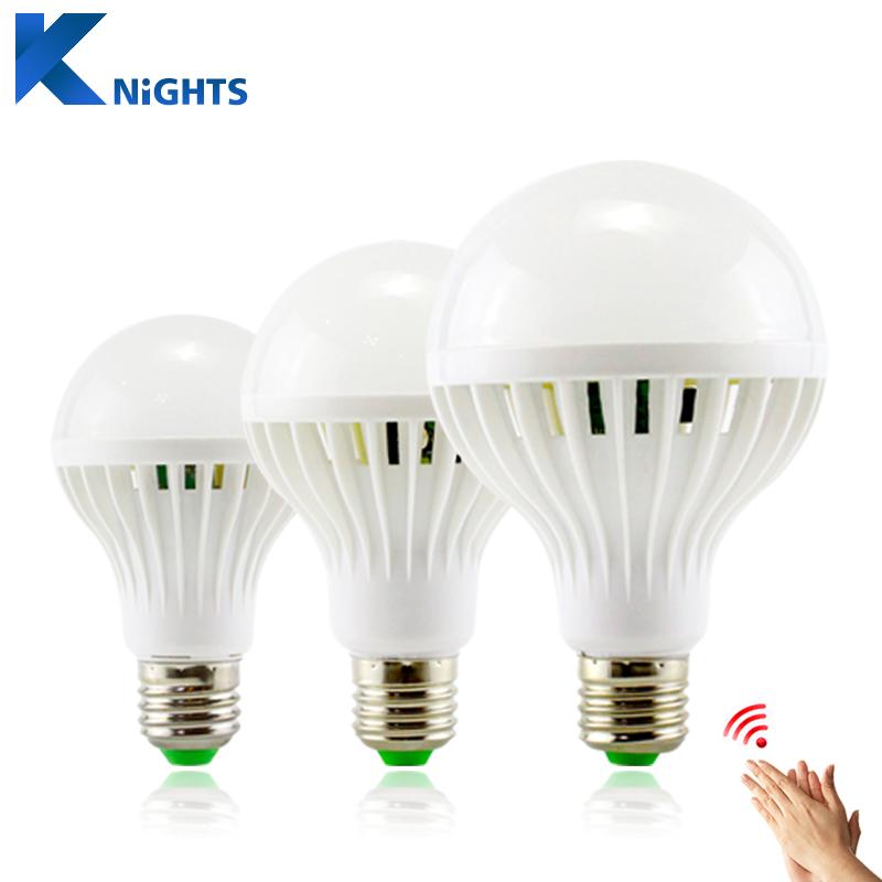 Sound Motion Sensor Automatic Smart LED Bulb E27 3W 5W 7W 9W 12W White AC 220V SMD5730 Detection Lampada LED Sound Sensor lamp(China (Mainland))
