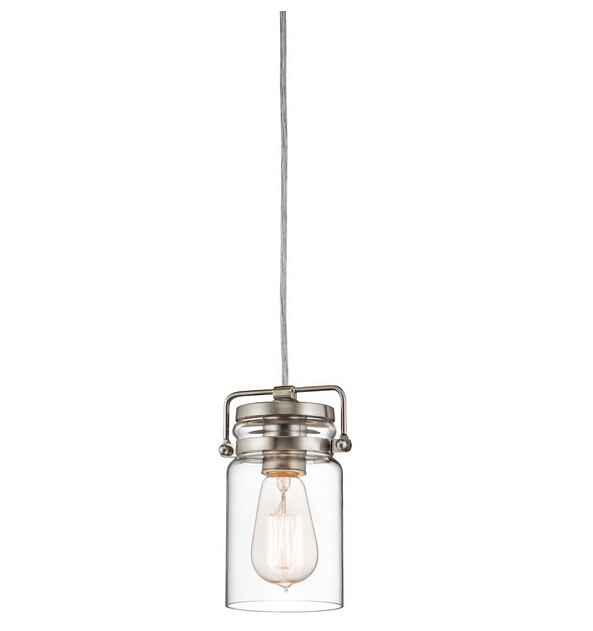 Mini-Pendant lights Brushed Nickel Finish with Clear Glass Shade home decoration lamp(China (Mainland))