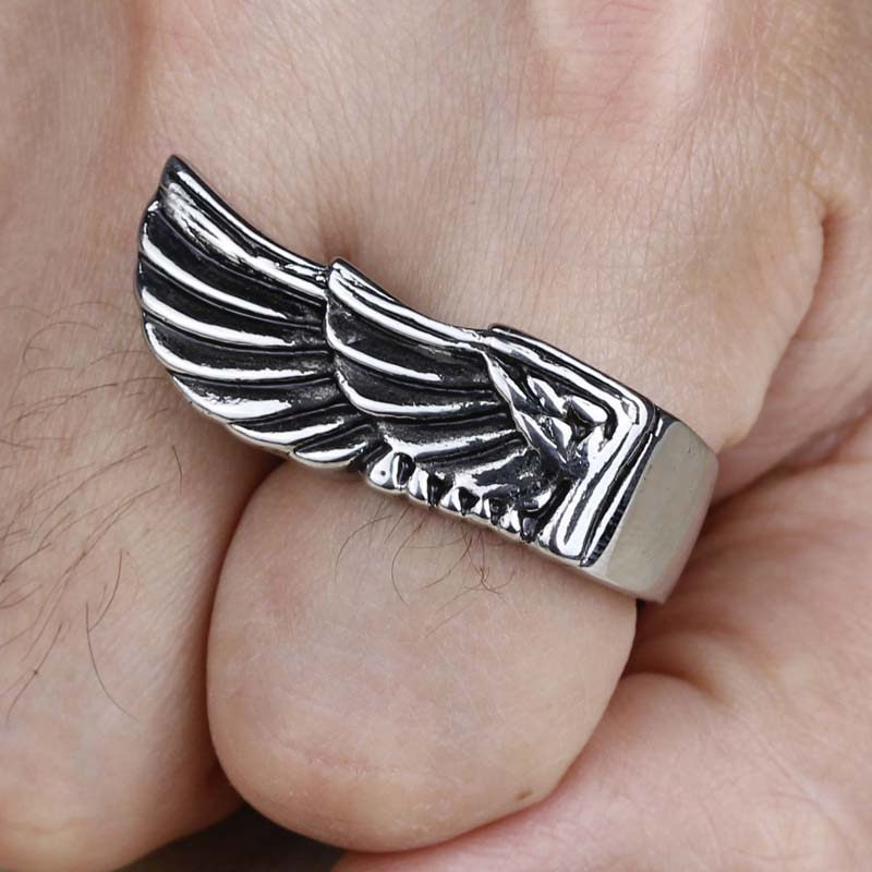 2016 New Stainless Steel Silver Mens Angel Wings Finger Rings Vintage Punk Charm Fashion Jewelry Handmade High Quality (A566)(China (Mainland))
