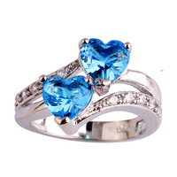 lingmei Wholesale Fashion New Jewelry Women Heart Dazzling Blue & White Topaz Silver Ring Size 6 7 8 9 10 11 12 Free Shipping