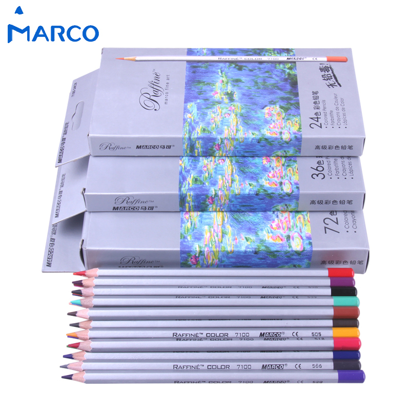 Marco 72pcs Color Pencil lapis de cor Professional Non-toxic Lead-free Colored Pencil School Supplies Painting Pencils(China (Mainland))