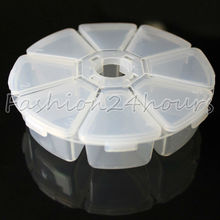 New Clear Round Empty Transparent 8 Storage Case Compartments Box Tool For Nail Art Tips Gems(China (Mainland))