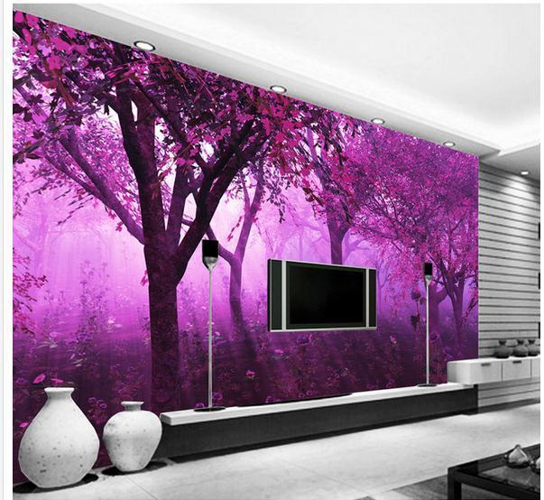 new large wallpaper custom wallpaper purple fantasy forest flowers tree path purple wall mural photo wallpaper