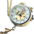 Mechanical Pocket Watch Vintage Steampunk Transparent Glass Ball Shape Hand Wind Fob Watches Men Women Necklace