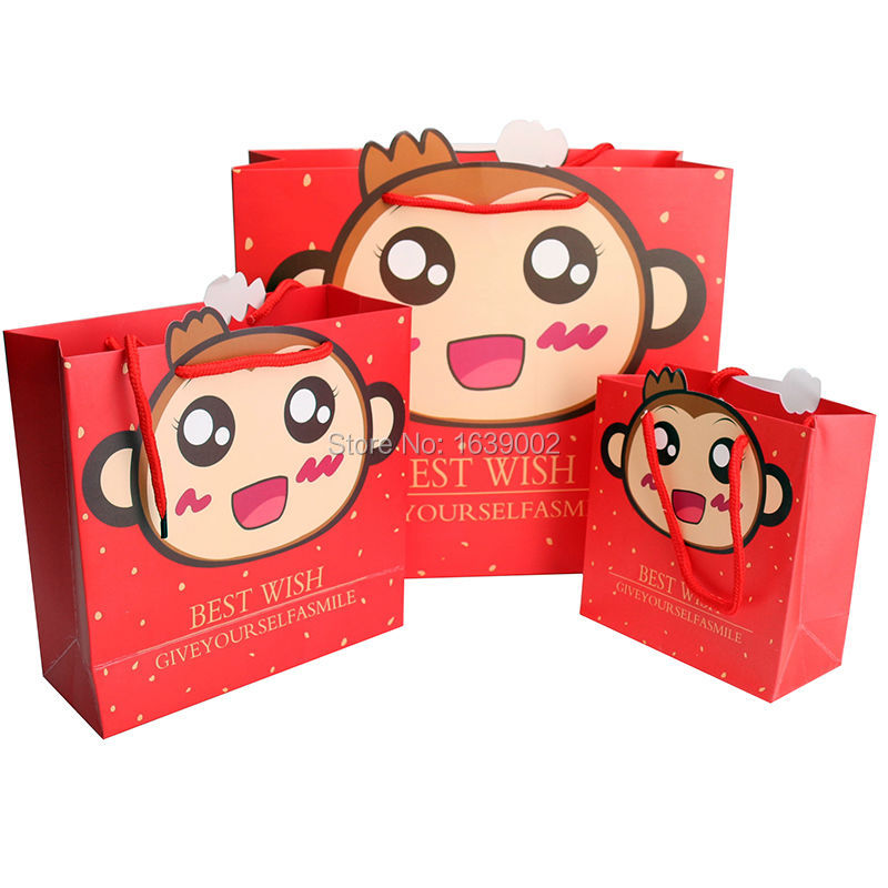 10PCS Monkey Pattern Party Gift Bag Children Birthday Wedding High Quality Cake Box Handbags Decoration Articles(P-274)(China (Mainland))