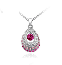 Hottest Gold/Silver Teardrop Crystal Necklace Jewelry Colorful Crystal Rhinestone Necklace Cheap Jewelry collar de cristal(China (Mainland))