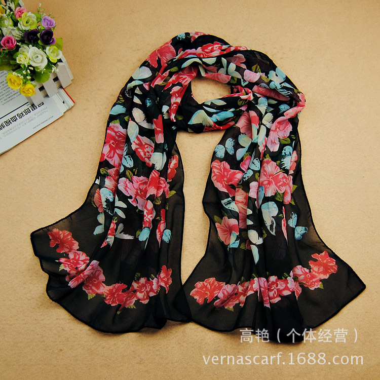 2016 New Arrive Butterfly Morning Glory Pattern Brand Scarf Slik Chiffon Scarf Women Scarves and Stoles Wholesale 160*50cm(China (Mainland))