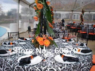 108inch Round Black/White Flocking Taffeta Tablecloth With Free Shipping(China (Mainland))