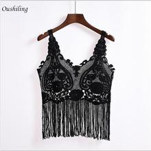 Europe Sexy Sleeveless Crochet Knit Hollow Out Lace Vest 2016 Summer Women Fashion V Neck Tassels Tank Top(China (Mainland))