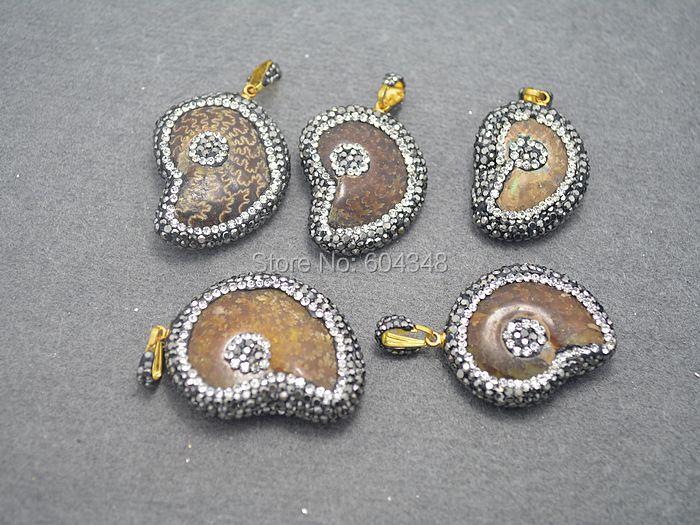 5PCS Whole Ammolite Shell Mineral With Rhinestone Stone Paved Pendants High Fashion Women Jewelry Making Materials(China (Mainland))