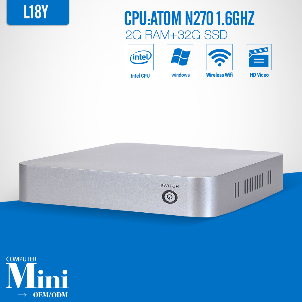 Best Desktop Replacement Mini linux embedded pc L-18Y N270 2G RAM 32G SSD with fan mini pcs ABS material computer(China (Mainland))
