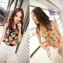 1PC Women 2016 Fashion Summer Casual Chiffon Sleeveless Flower Shirt Blouse Vest Tank Tops(China (Mainland))