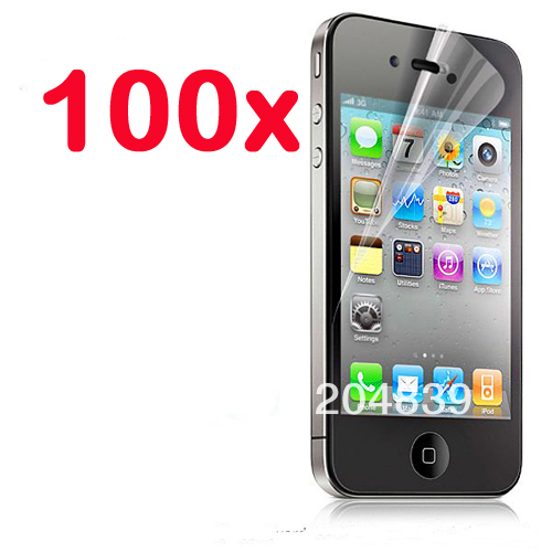 100X New CLEAR LCD Screen Protector Guard Cover Film For Apple iphone 4 4S