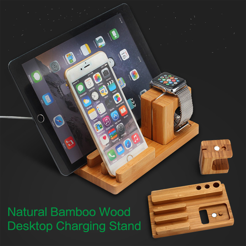Genuine Natural Bamboo Holder For Apple Watch 42mm 38mm Desktop Charging Docking Station Charger Wooden Stand For iphone 7 ipad(China (Mainland))
