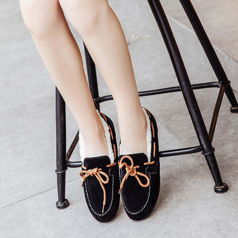 Hot Sale Women Casual Fur Shoes Winter Warm Women Cotton Bean Shoes Korean Fashion Style Students Daily Light Snow Shoes Flats