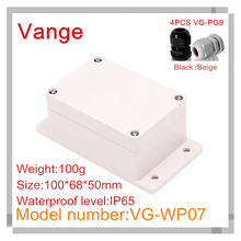 Discount package injected IP65 waterproof ABS plastic diy box with 4pcs PG9 waterproof wire gland 100*68*50mm(China (Mainland))