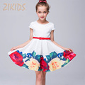 Girls Summer Dress Cute Casual Print Flowers Girl Dresses Children Brand Kids Clothes for Party Wedding
