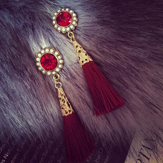 Ветер барокко рубин камень серьги жемчужина инкрустированные позолоченные бахрома серьги уха украшения для женщин