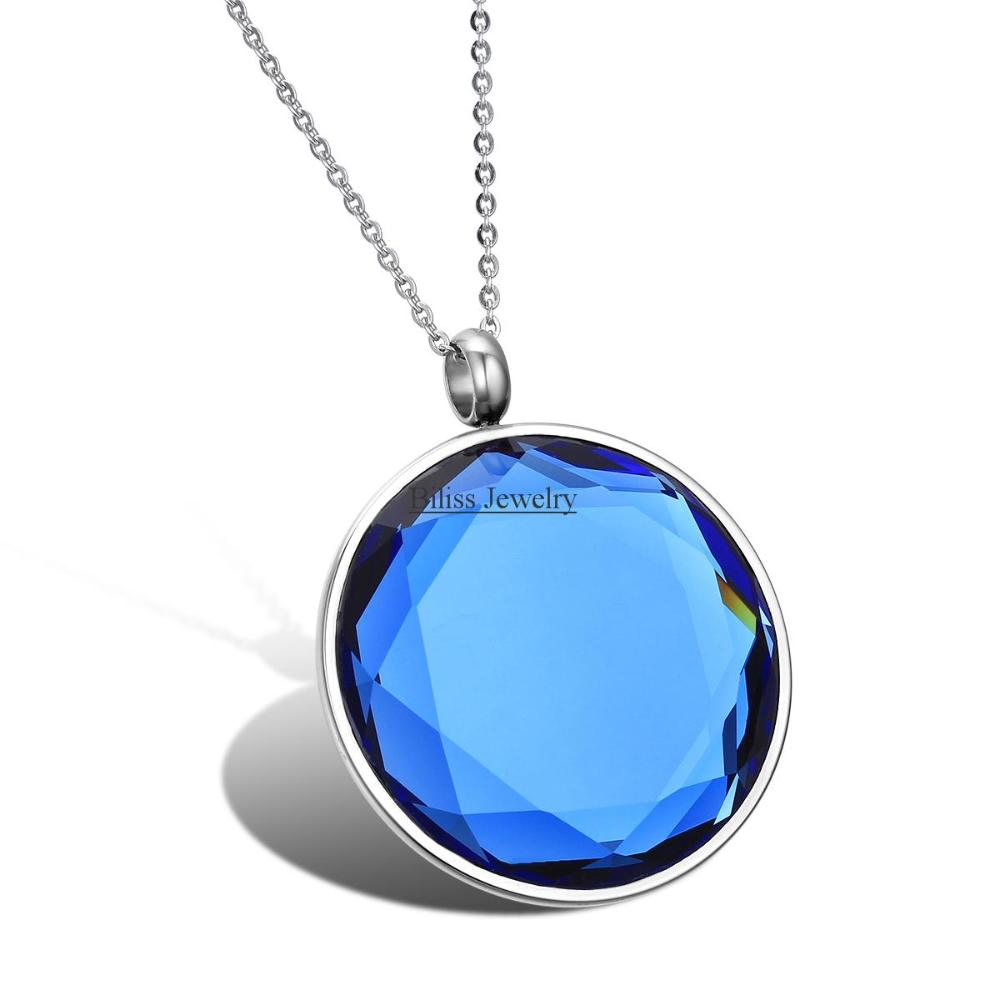 New Stainless Steel Mens Women Unisex Charm Mirror Polishing Round Stone Crystal Pendant Necklace 2 Colors Silver & Blue(China (Mainland))