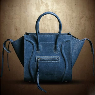 Loyal Blue Split Leather Suede + PU Leather Large Tote European and American Hollywood Style Gossip Girl Smiley Purse Handbag(China (Mainland))