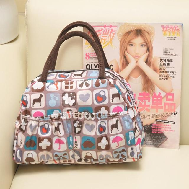 waterproof cartoon printing fashion casual lunch bag lady handbag canvas mini bag for women