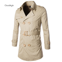 2016 New Arrival Fashion Double Breasted Men Trench Branding Clothing Solid Trench Coat Men Long Length Slim Fit Manteau Homme(China (Mainland))