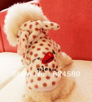 cute,comfortable,fashionable fleece pet dog clothes in rabbit style